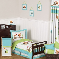 Turquoise and Lime Hooty Owl Toddler Bedding - 5pc Set by Sweet Jojo Designs