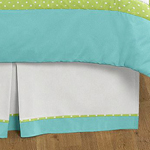 Turquoise and Lime Hooty Owl Queen Bed Skirt for Childrens Teens Bedding Sets by Sweet Jojo Designs