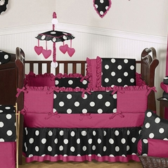 Pink, Black and White Hot Dot Baby Bedding by Sweet Jojo Designs - 9 pc Crib Set