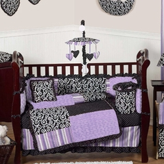 Purple and Black Kaylee Girls Boutique Baby Bedding - 9 pc Crib Set