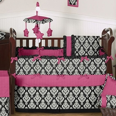 Black, White and Hot Pink Avery Baby Bedding - 6 pc Crib Set