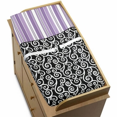Purple and Black Kaylee Baby Changing Pad Cover by Sweet Jojo Designs