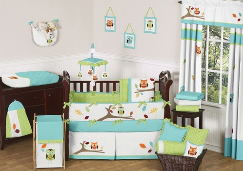 Spectacular Turquoise and Lime Hooty Owl Baby Bedding pc Crib Set Click to enlarge