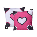 Pink and Black Hearts Decorative Accent Throw Pillow