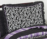 Purple and Black Kaylee Pillow Sham by Sweet Jojo Designs