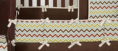 Chocolate Zoom Baby Crib Bumper Pad