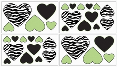Lime Funky Zebra Baby, Kids and Teens Wall Decal Stickers - Set of 4 Sheets