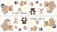Chocolate Teddy Bear Baby and Kids Wall Decal Stickers - Set of 4 Sheets