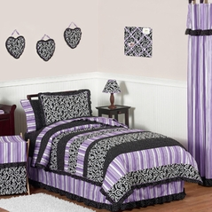 Purple and Black Kaylee Childrens, Kids, Teen Bedding - 3pc Full / Queen Set by Sweet Jojo Designs