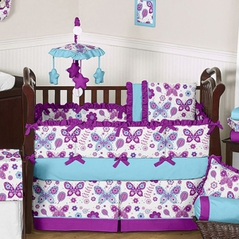Purple and Turquoise Spring Garden Baby Bedding - 9 pc Crib Set by Sweet Jojo Designs