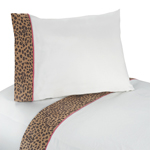 3 pc Twin Sheet Set for Pink and Brown Cheetah Girl Bedding Collection