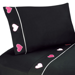 3 pc Twin Sheet Set for Pink and Black Hearts Bedding Collection - Black