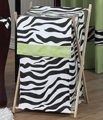Baby and Kids Lime Funky Zebra Clothes Laundry Hamper