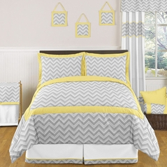 Yellow and Gray Chevron Zig Zag Childrens, Kids, Teen Bedding - 3pc Full / Queen Set by Sweet Jojo Designs
