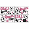 Girls Soccer Kids and Teens Wall Decal Stickers - Set of 4 Sheets