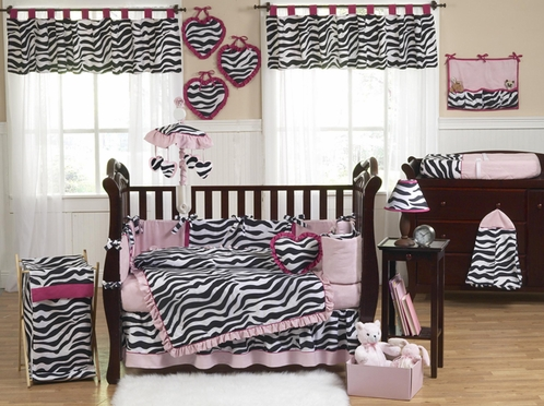 Pink, Black & White Funky Zebra Baby Bedding - 9 pc Crib Set - Click to enlarge