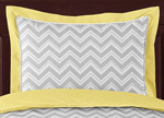 Yellow and Gray Chevron Zig Zag Pillow Sham by Sweet Jojo Designs