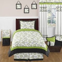 Spirodot Lime and Black Childrens and Kids Bedding Set - 4 pc Twin Set by Sweet Jojo Designs