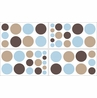 Blue and Brown Mod Dots Baby and Childrens Polka Dot Wall Decal Stickers - Set of 4 Sheets