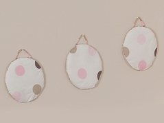 Pink and Brown Modern Polka Dots Wall Hanging Accessories by Sweet Jojo Designs