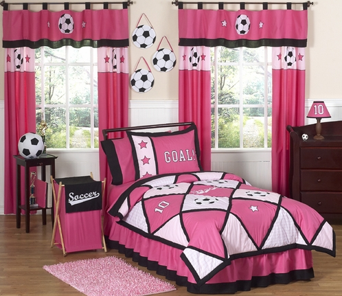 Girls Soccer Childrens Bedding - 3 pc Full / Queen Set - Click to enlarge