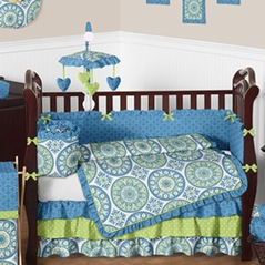 Blue and Lime Medallion Baby Bedding - 9 pc Crib Set by Sweet Jojo Designs