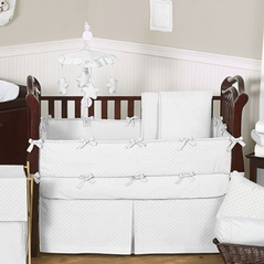 Solid White Minky Dot Baby Bedding - 9pc Crib Set by Sweet Jojo Designs