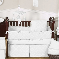 White Diamond Jacquard Modern Baby Bedding - 9pc Crib Set by Sweet Jojo Designs
