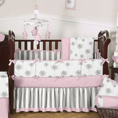 Pink and Gray Dandelion Baby Bedding - 6 pc Crib Set