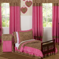 Cheetah Girl Pink and Brown Toddler Bedding - 5pc Set by Sweet Jojo Designs