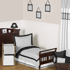 Black and Gray Chevron Zig Zag Toddler Bedding - 5pc Set by Sweet Jojo Designs
