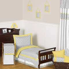 Yellow and Gray Chevron Zig Zag Toddler Bedding - 5pc Set by Sweet Jojo Designs