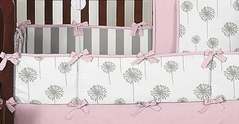 Pink and Gray Dandelion Baby Crib Bumper Pad