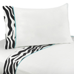 3 pc Twin Sheet Set for Turquoise Funky Zebra Bedding Collection
