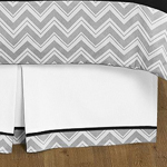 Black and Gray Chevron Zig Zag Queen Bed Skirt for Childrens Teens Bedding Sets by Sweet Jojo Designs