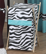 Baby and Kids Turquoise Funky Zebra Clothes Laundry Hamper