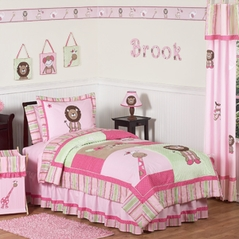 Pink and Green Girls Jungle Kids Bedding - 4pc Twin Set
