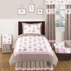 Pink and Taupe Mod Elephant Childrens and Kids Bedding - 4pc Twin Set by Sweet Jojo Designs