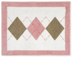 Pink and Brown Argyle Accent Floor Rug