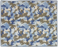 Blue and Khaki Camo Accent Floor Rug
