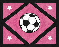 Girls Soccer Accent Floor Rug