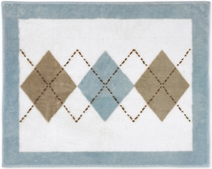 Brown and Blue Argyle Accent Floor Rug