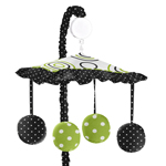 Spirodot Lime and Black Musical Baby Crib Mobile by Sweet Jojo Designs