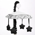 Black and Gray Chevron Zig Zag Musical Baby Crib Mobile by Sweet Jojo Designs
