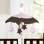 Pink and Brown Hotel Musical Baby Crib Mobile by Sweet Jojo Designs