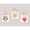 Pink Happy Owl Wall Hanging Accessories by Sweet Jojo Designs