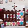 Deco Dot Modern Baby Girls Bedding - 9 pc Crib Set