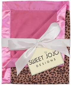 Pink & Cheetah Print Minky and Satin Baby Blanket by Sweet Jojo Designs