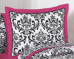 Hot Pink, Black and White Isabella Pillow Sham by Sweet Jojo Designs