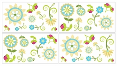 Turquoise and Lime Layla Children and Kids Wall Decal Stickers - Set of 4 Sheets
